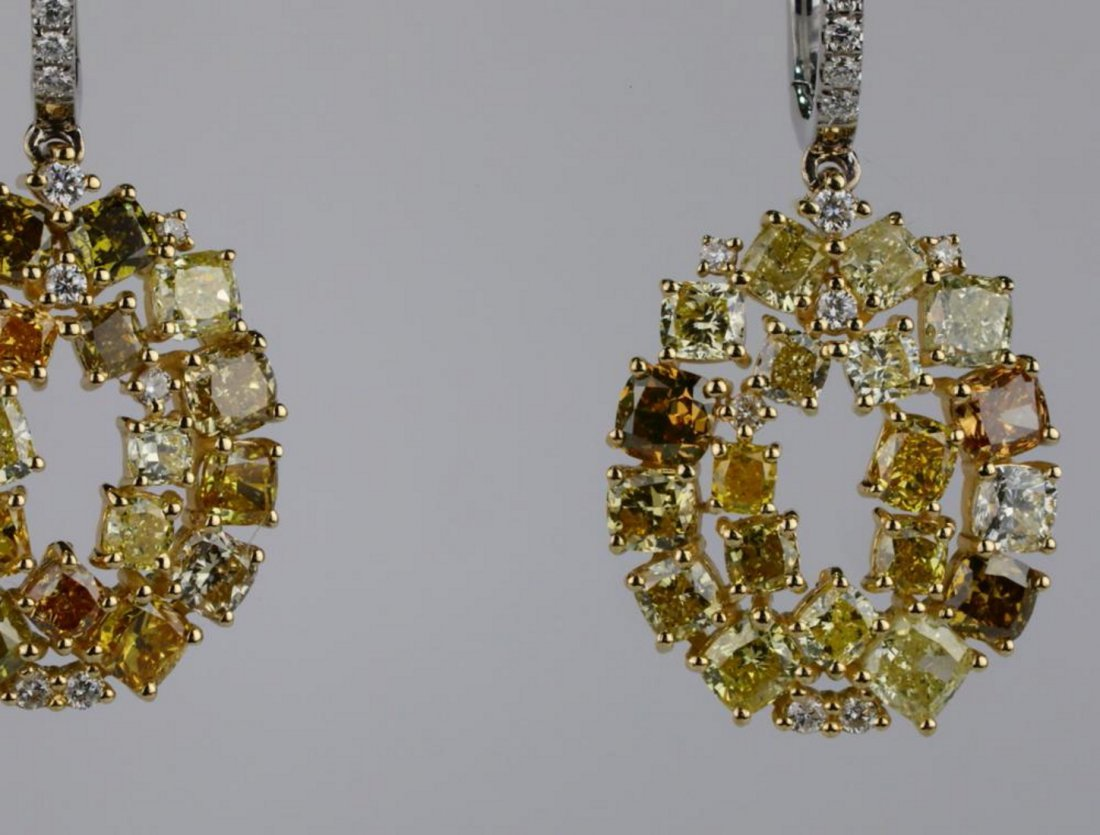 7.20ctw SI1-SI2 Multi-Color Diamond 14K Earrings - 2