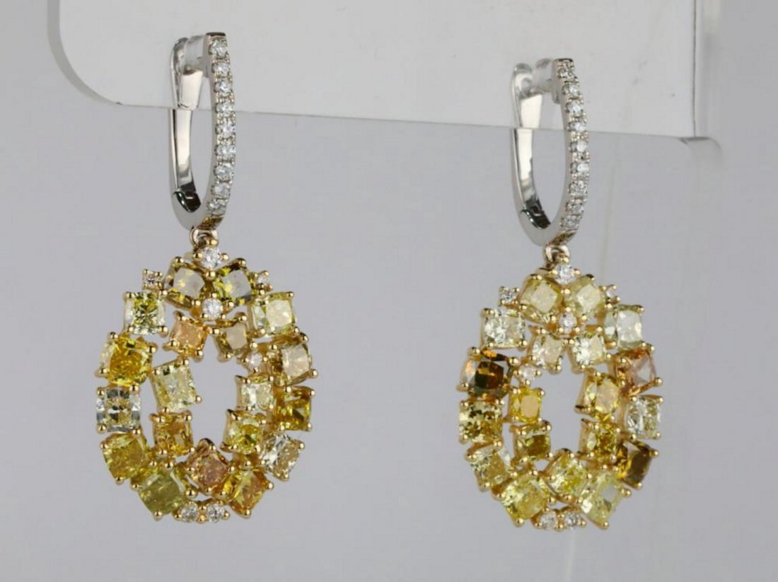 7.20ctw SI1-SI2 Multi-Color Diamond 14K Earrings - 3