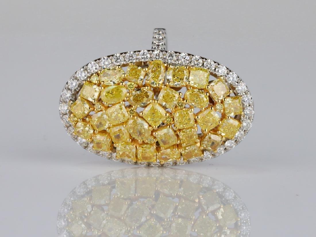 6.20ctw VS2-SI1 Yellow & White Diamond 18K Ring