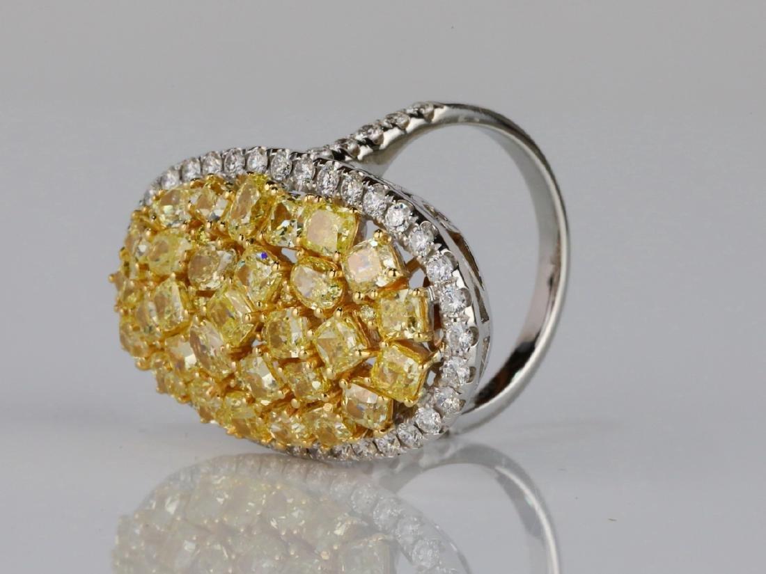 6.20ctw VS2-SI1 Yellow & White Diamond 18K Ring - 2