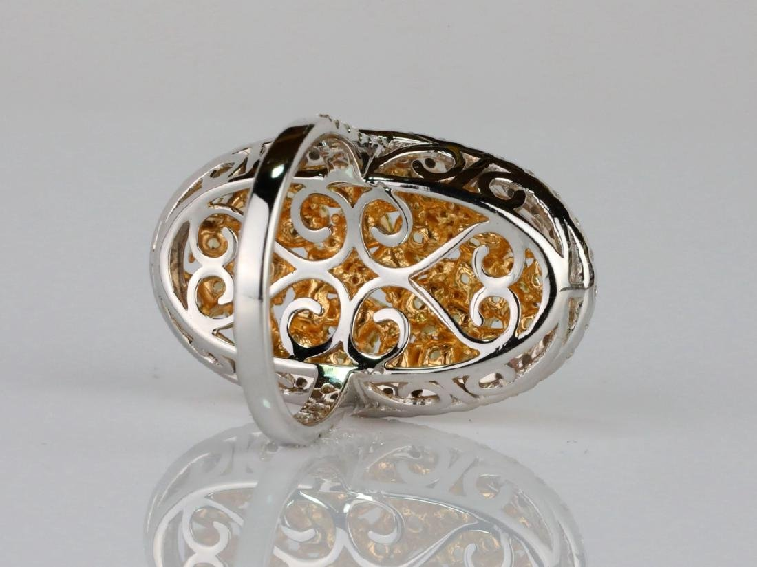 6.20ctw VS2-SI1 Yellow & White Diamond 18K Ring - 4