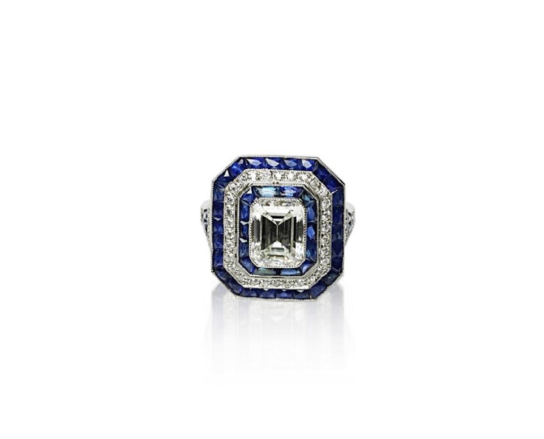7ctw Blue Sapphire, 2.8ctw Diamond, Platinum Ring