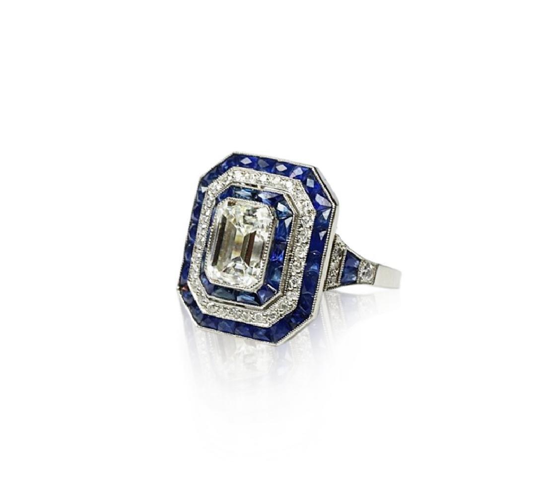 7ctw Blue Sapphire, 2.8ctw Diamond, Platinum Ring - 2