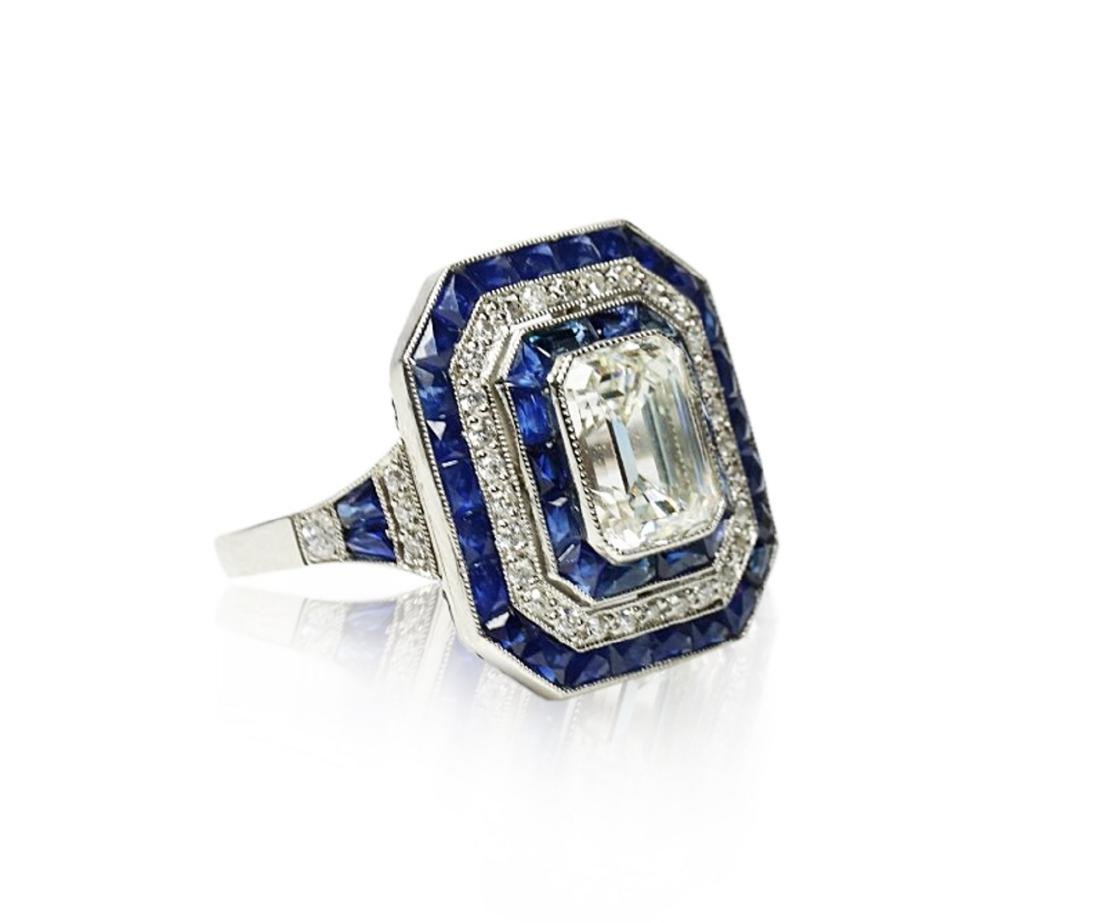 7ctw Blue Sapphire, 2.8ctw Diamond, Platinum Ring - 3