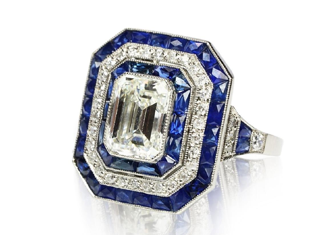 7ctw Blue Sapphire, 2.8ctw Diamond, Platinum Ring - 5