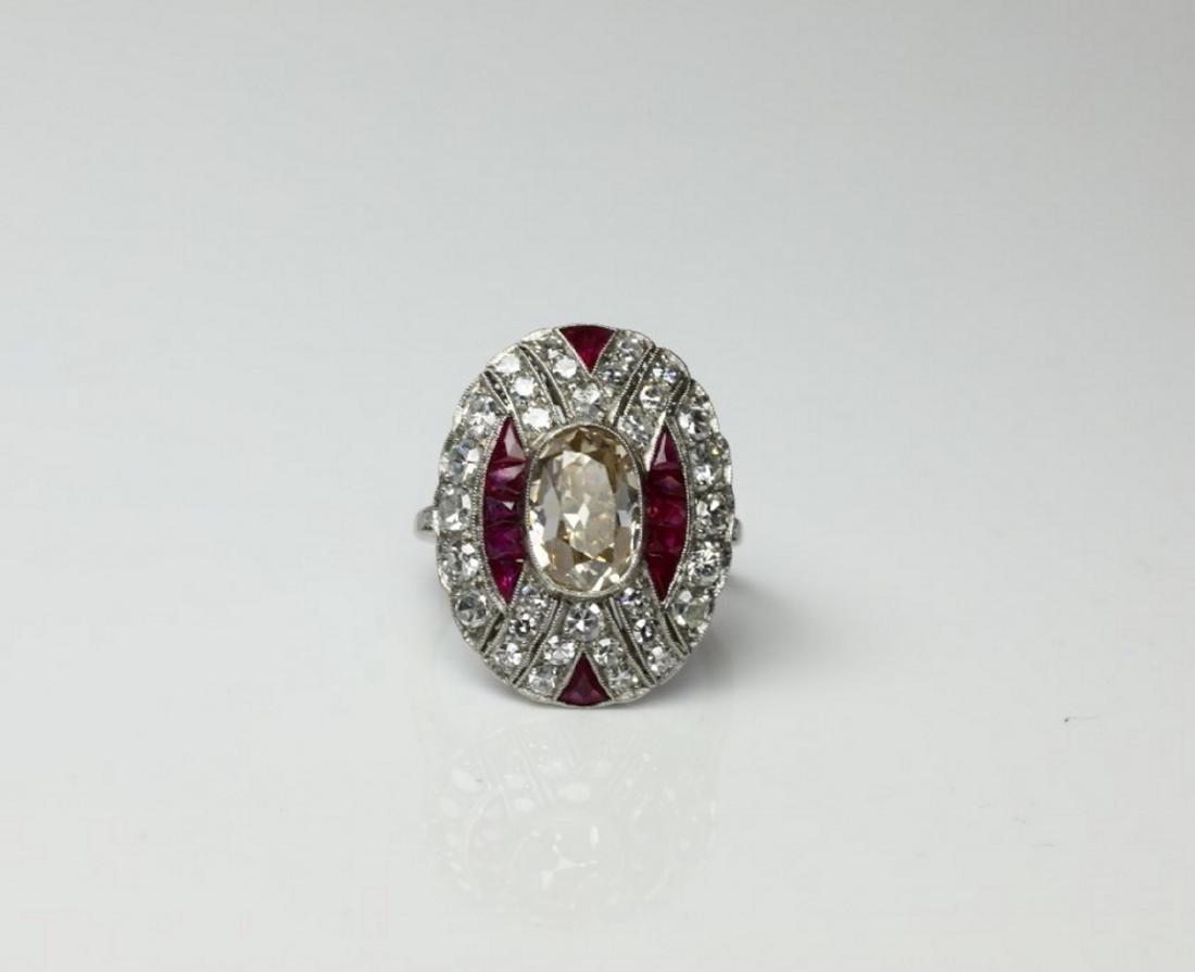 4.15ctw Diamond, 1.50ctw Ruby & Platinum Ring
