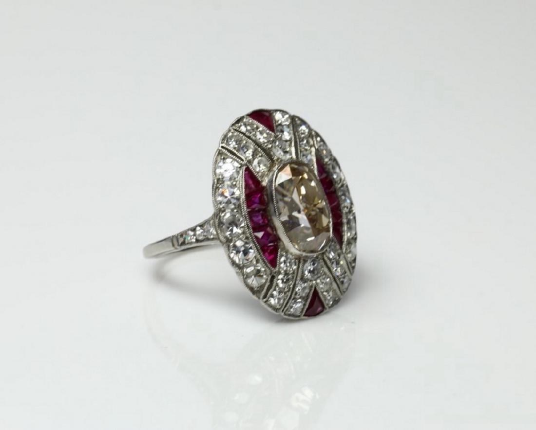 4.15ctw Diamond, 1.50ctw Ruby & Platinum Ring - 3