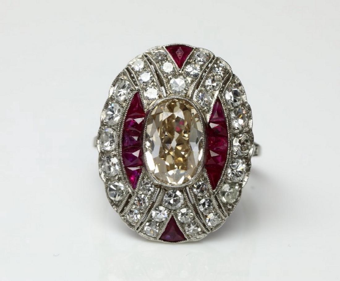 4.15ctw Diamond, 1.50ctw Ruby & Platinum Ring - 4