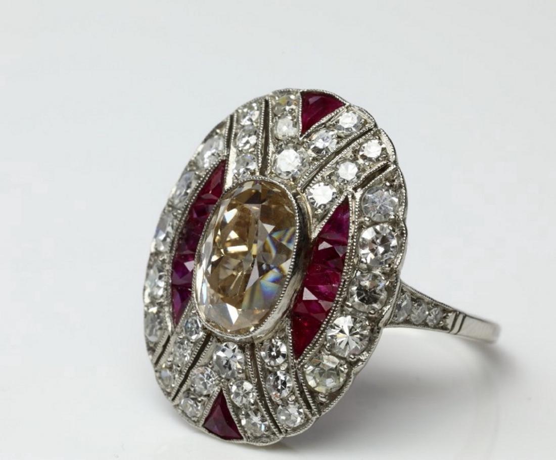 4.15ctw Diamond, 1.50ctw Ruby & Platinum Ring - 5