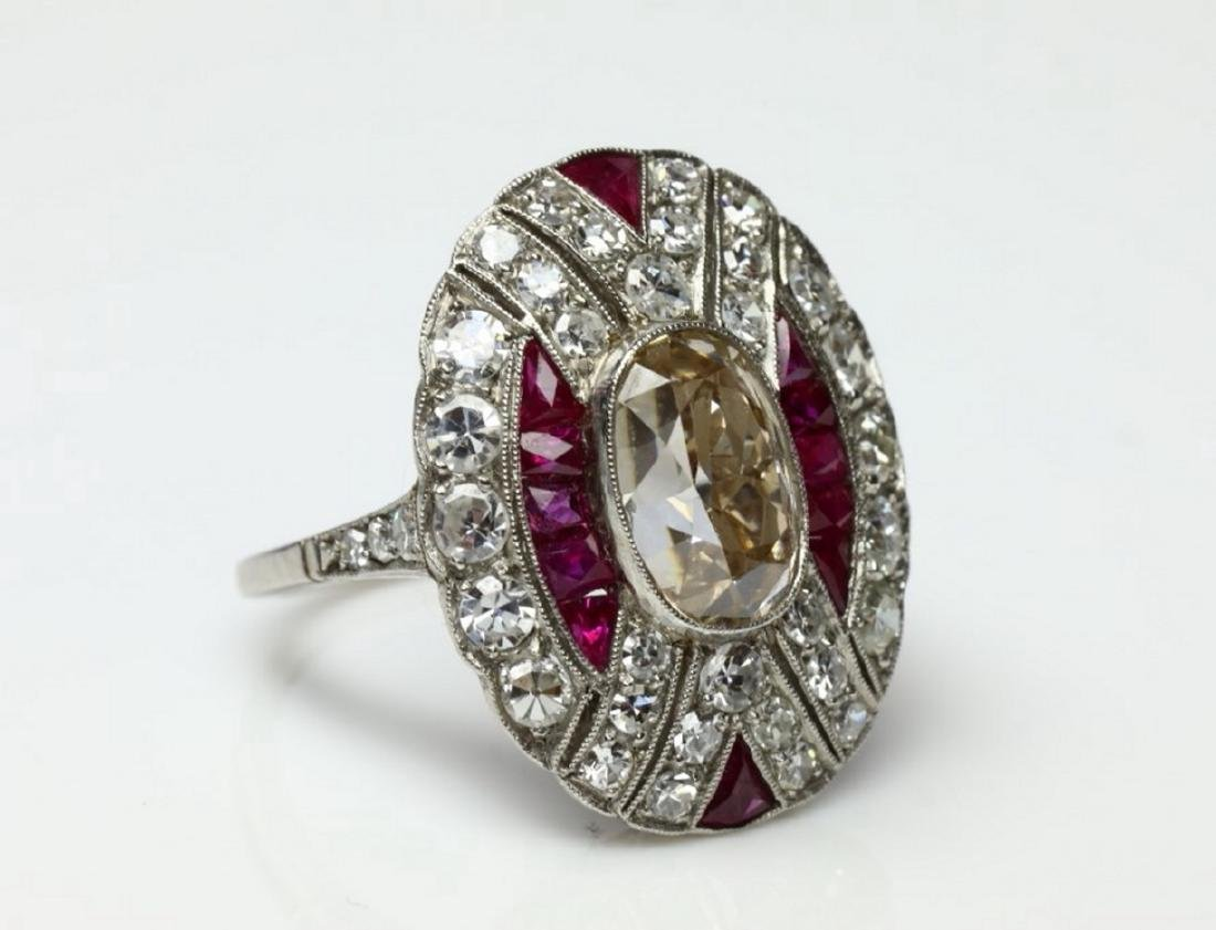 4.15ctw Diamond, 1.50ctw Ruby & Platinum Ring - 6