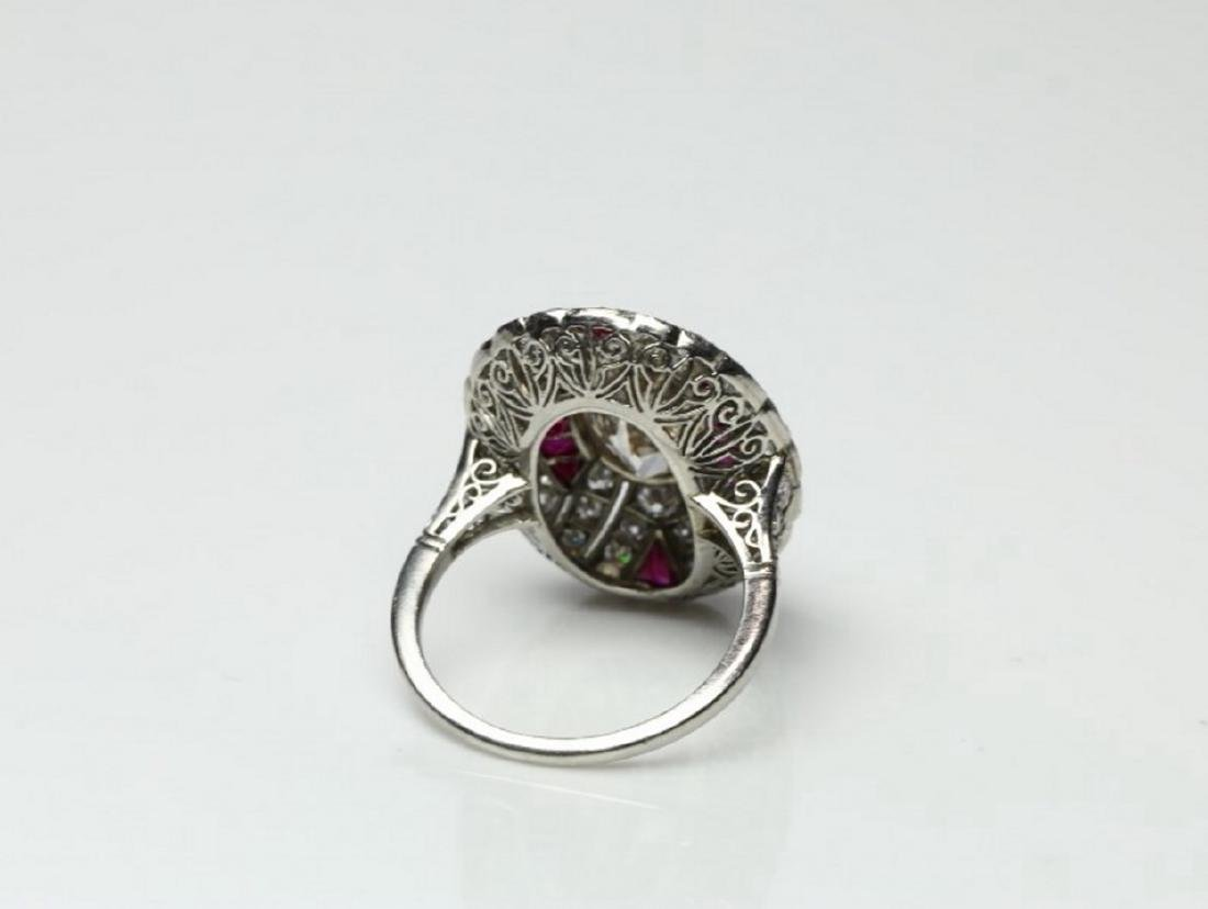 4.15ctw Diamond, 1.50ctw Ruby & Platinum Ring - 7