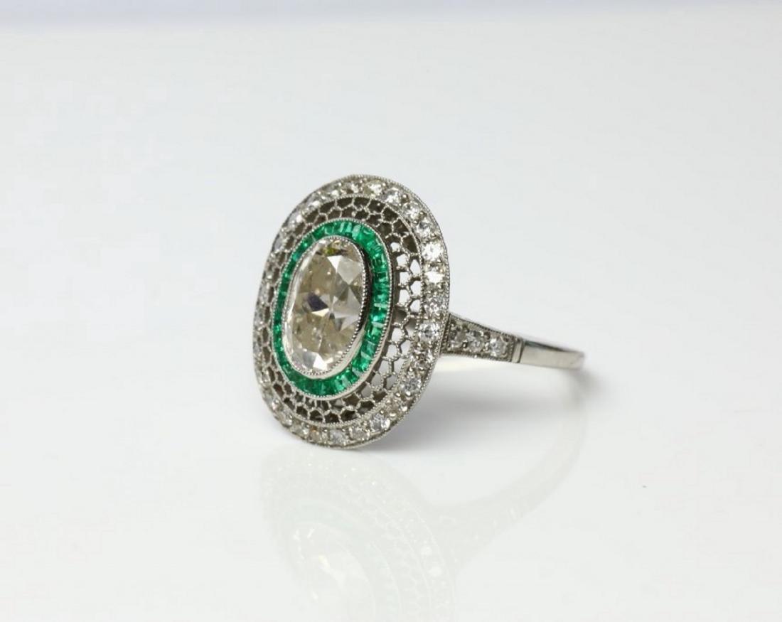 3.2ctw Diamond, 1ctw Emerald & Platinum Ring - 2