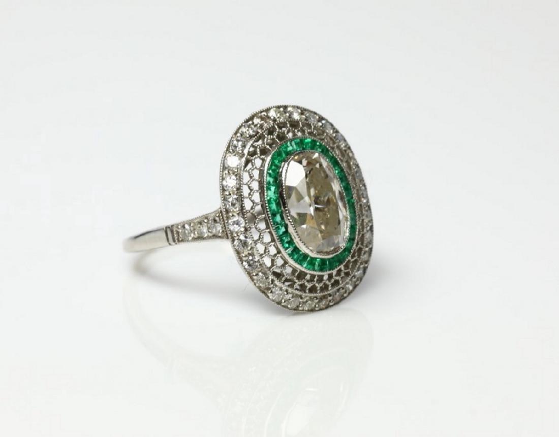 3.2ctw Diamond, 1ctw Emerald & Platinum Ring - 3