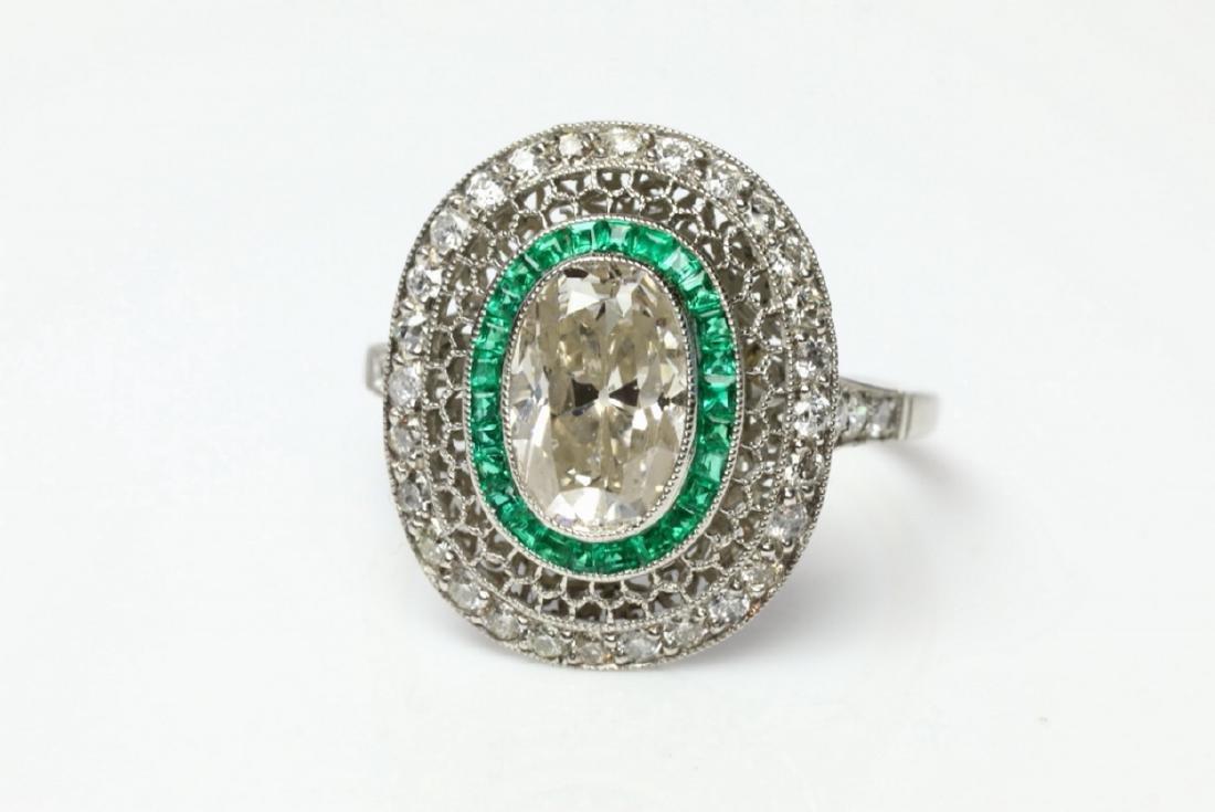 3.2ctw Diamond, 1ctw Emerald & Platinum Ring - 4