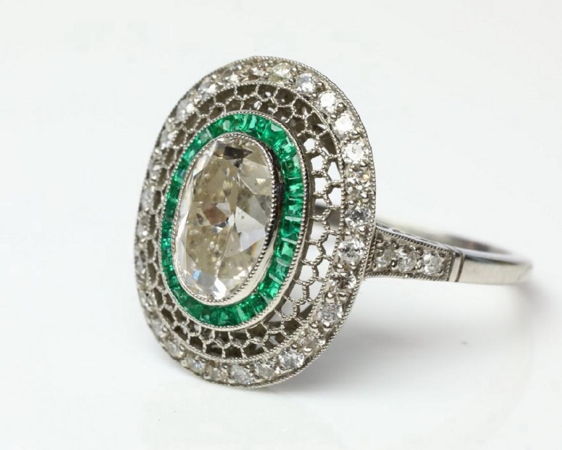 3.2ctw Diamond, 1ctw Emerald & Platinum Ring - 5