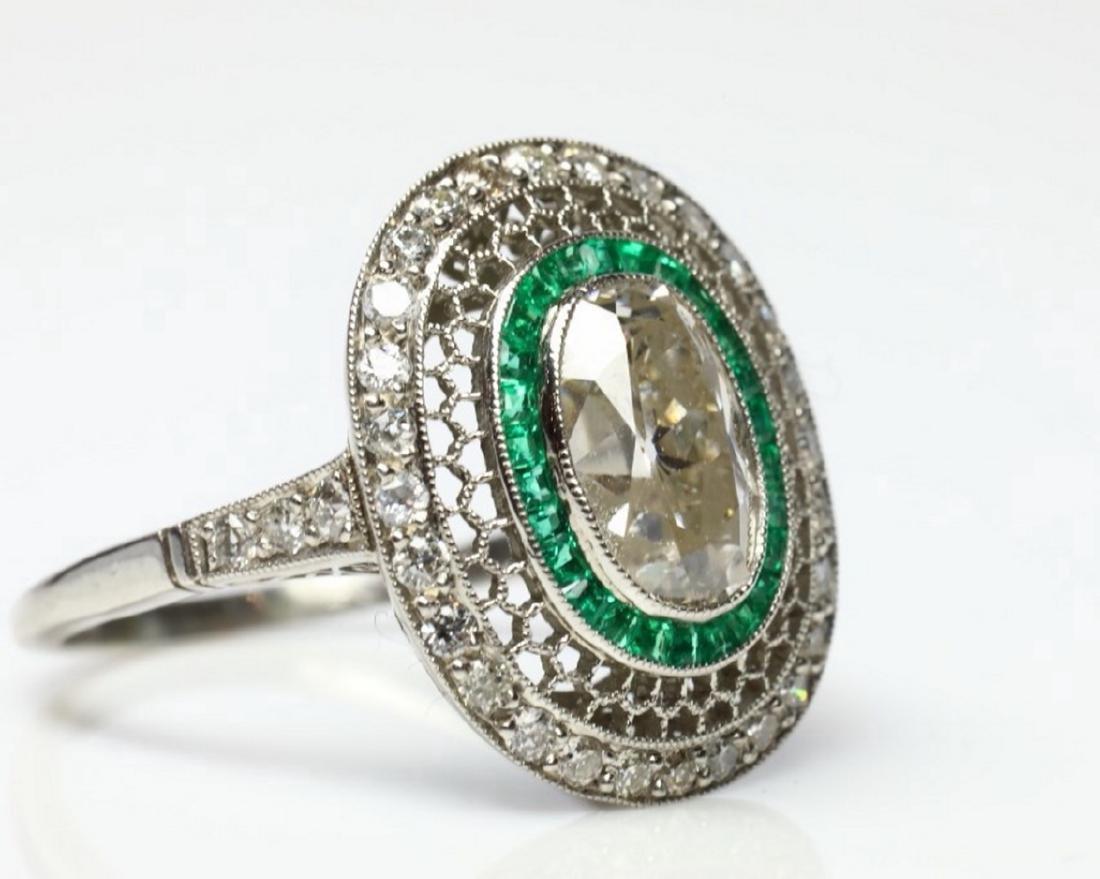3.2ctw Diamond, 1ctw Emerald & Platinum Ring - 6