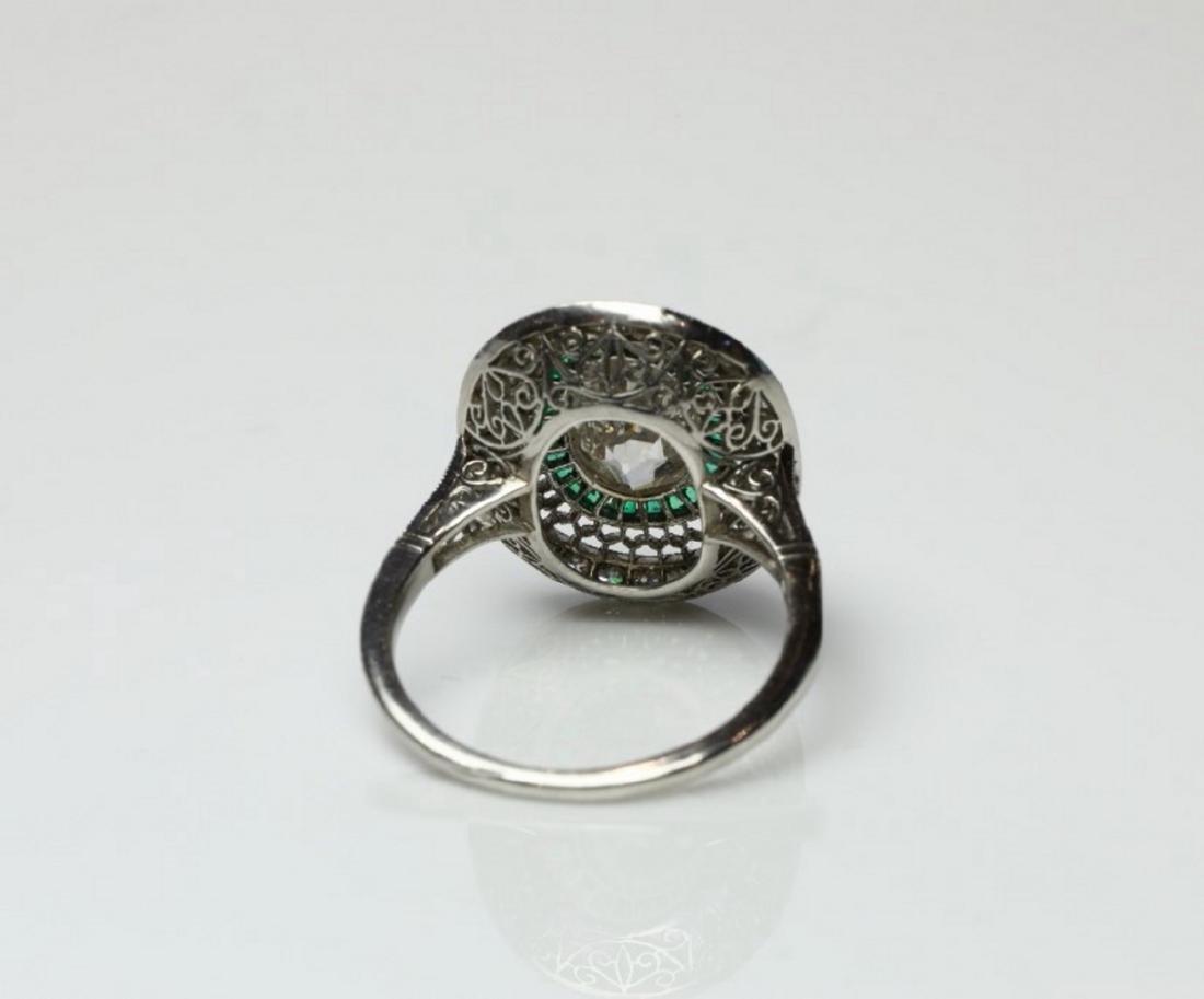 3.2ctw Diamond, 1ctw Emerald & Platinum Ring - 7