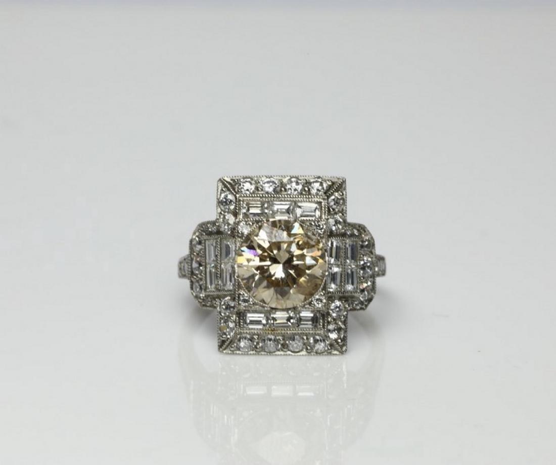 4.15ctw Light Brown & White Diamond Platinum Ring
