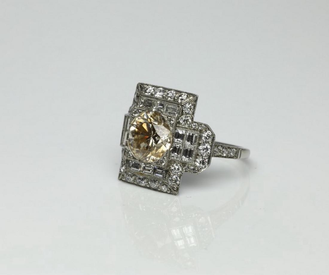 4.15ctw Light Brown & White Diamond Platinum Ring - 2