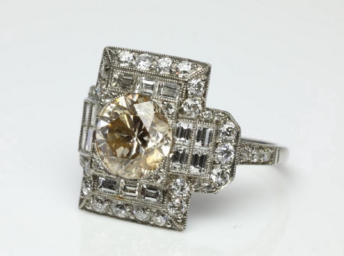 4.15ctw Light Brown & White Diamond Platinum Ring - 5