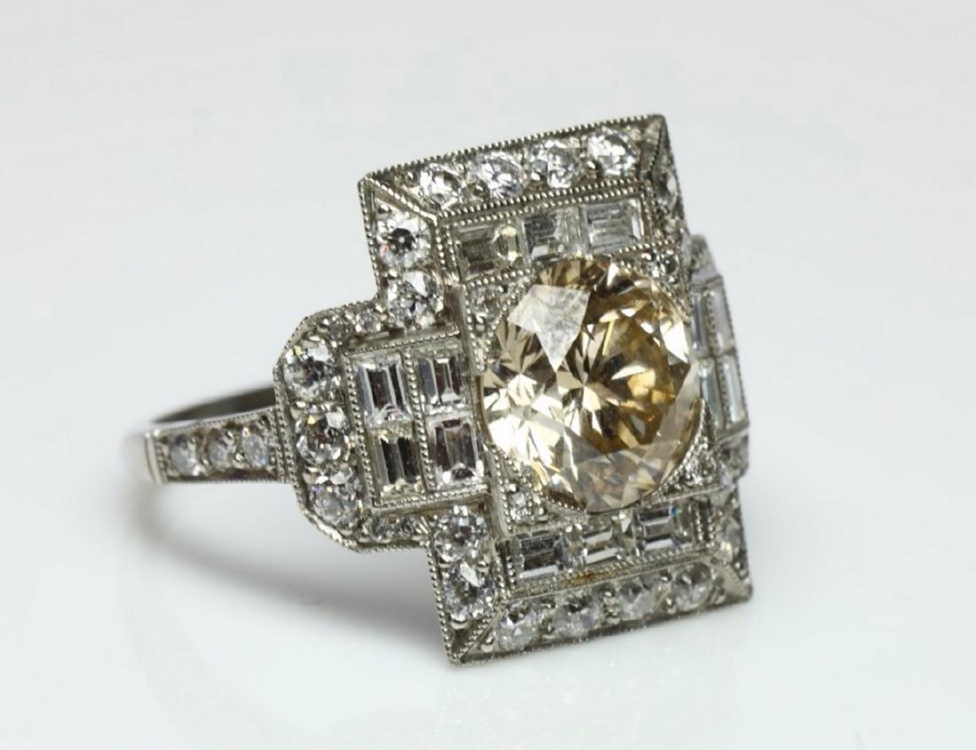 4.15ctw Light Brown & White Diamond Platinum Ring - 6