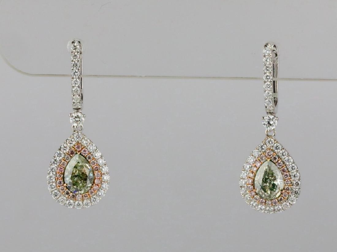 1ctw Green Diamond, 0.95ctw Diamond & 18K Earrings