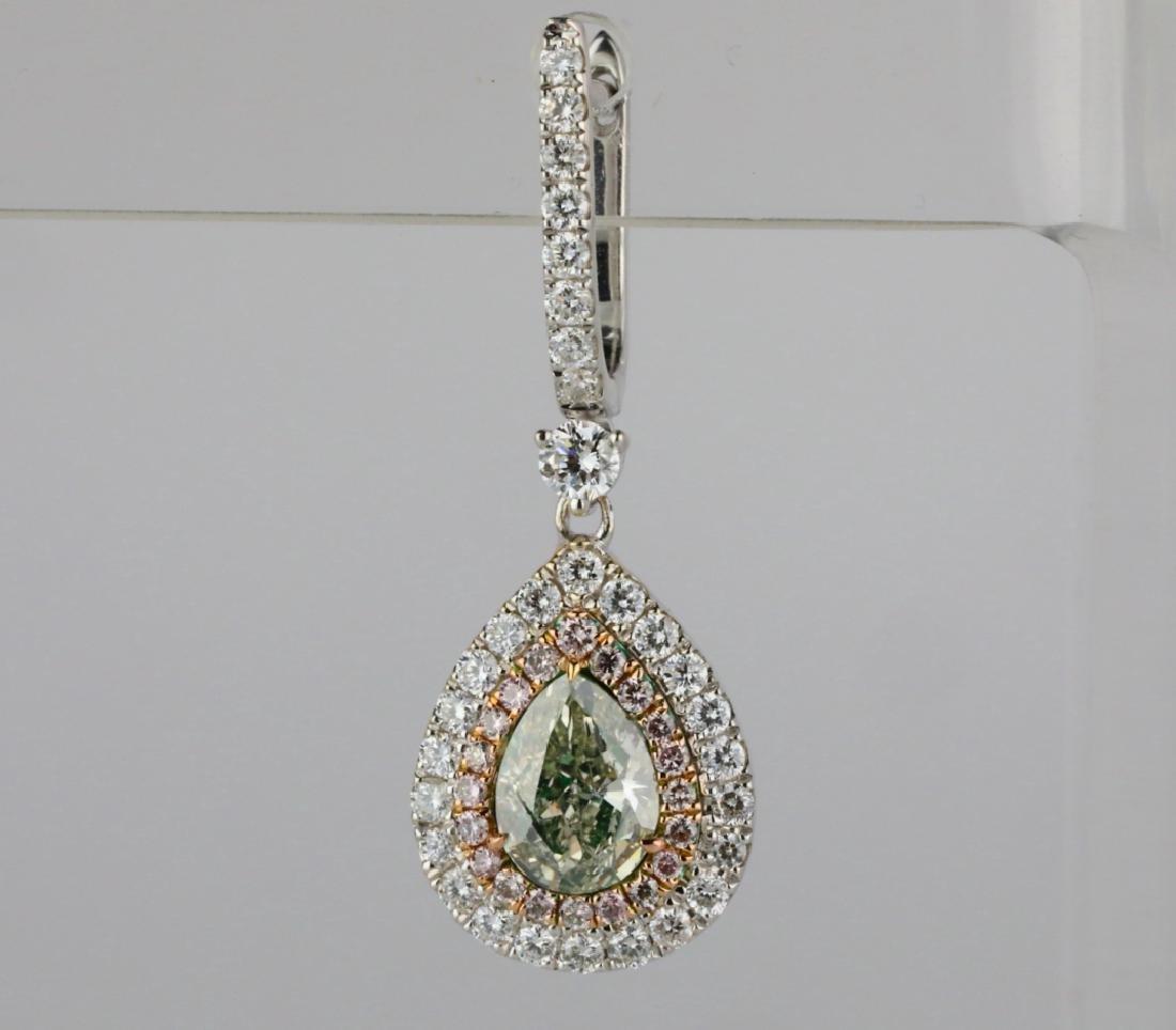 1ctw Green Diamond, 0.95ctw Diamond & 18K Earrings - 3