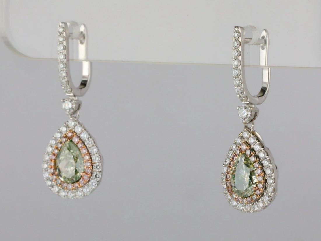 1ctw Green Diamond, 0.95ctw Diamond & 18K Earrings - 4