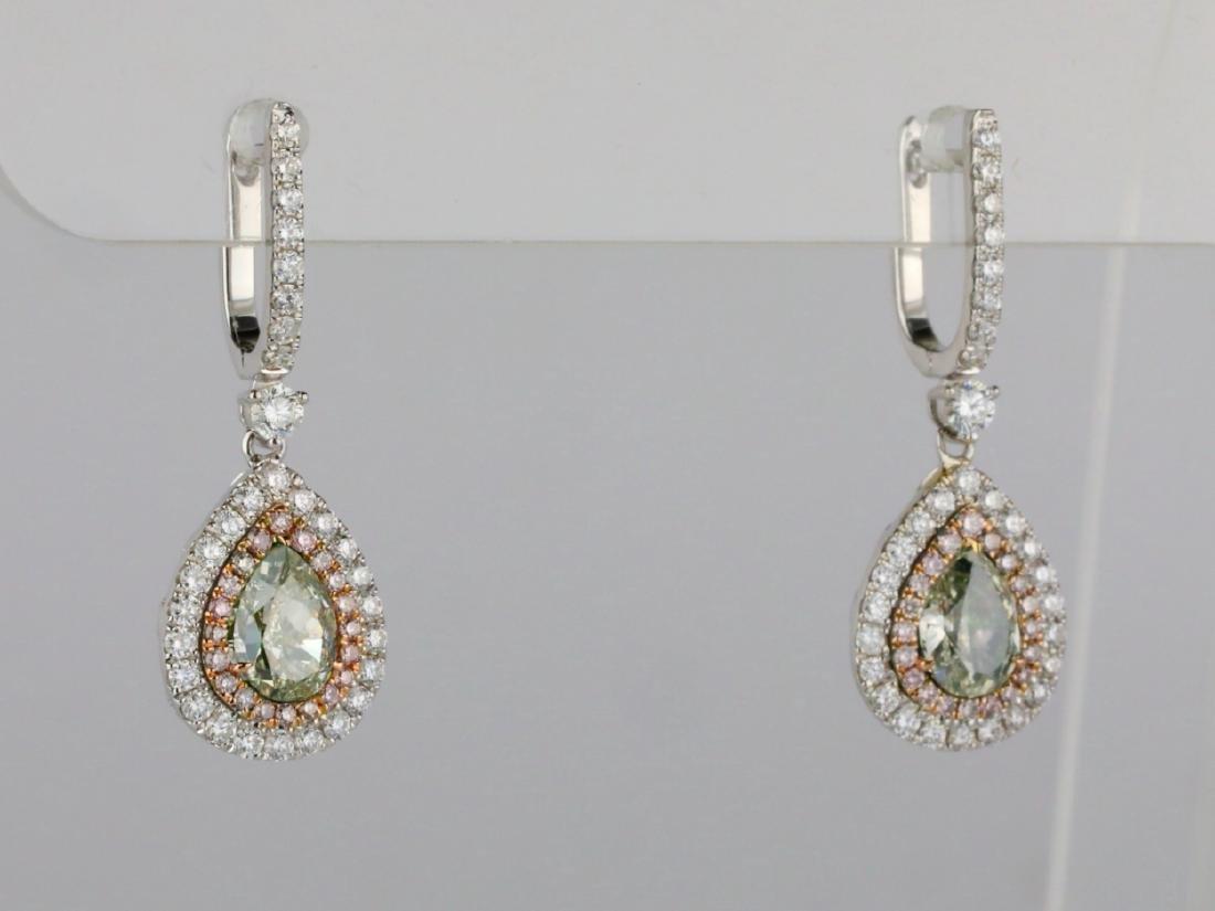 1ctw Green Diamond, 0.95ctw Diamond & 18K Earrings - 5