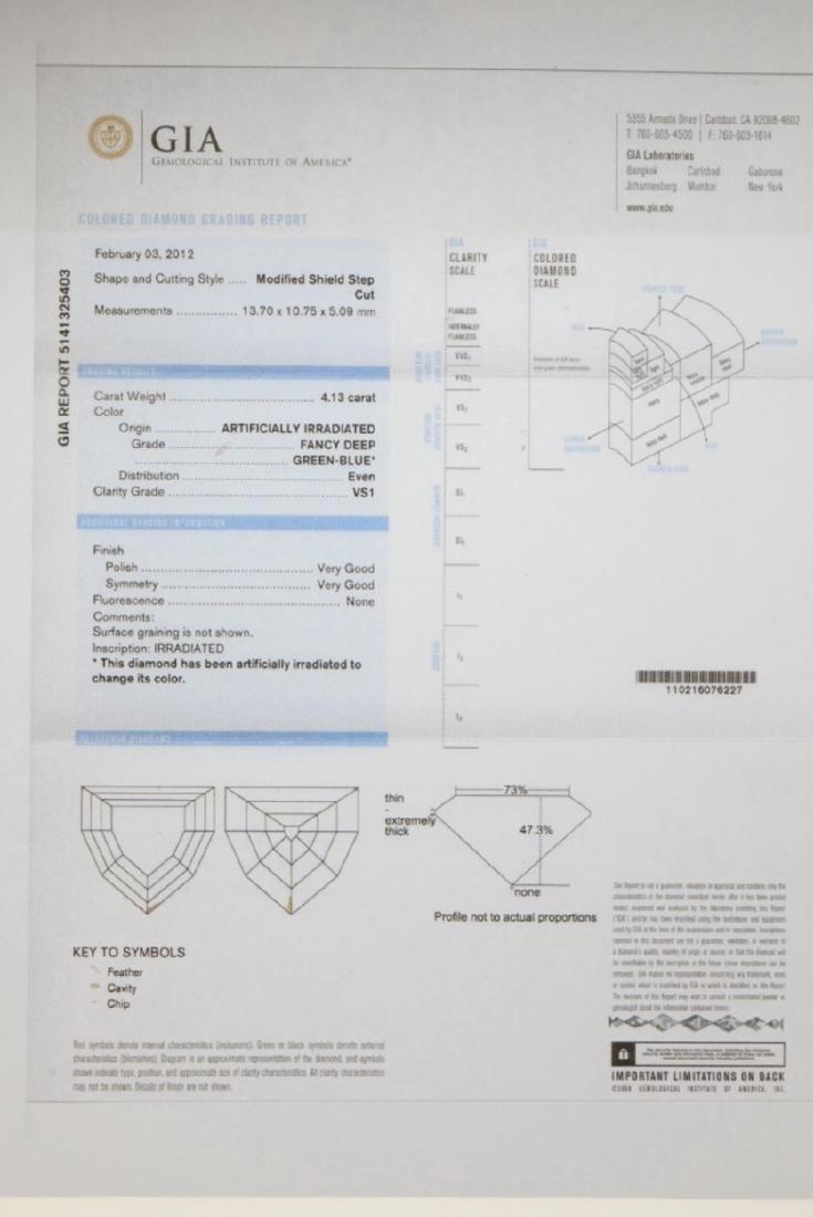 4.13ct GIA VS1 Deep Green Blue Diamond Necklace - 10