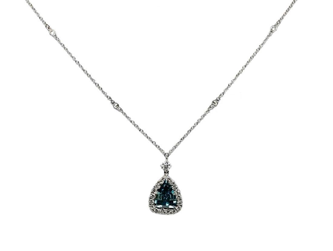 4.13ct GIA VS1 Deep Green Blue Diamond Necklace