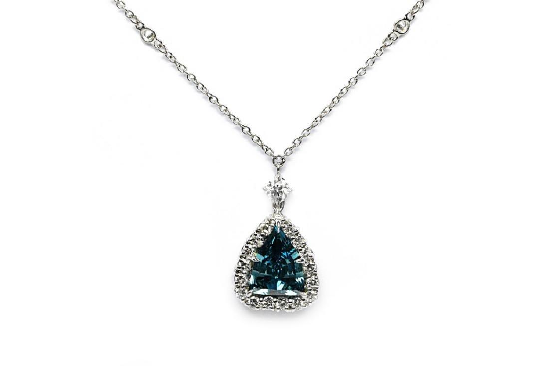 4.13ct GIA VS1 Deep Green Blue Diamond Necklace - 2