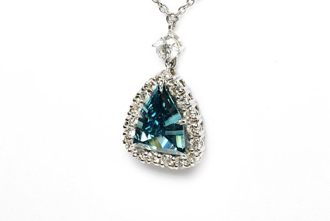 4.13ct GIA VS1 Deep Green Blue Diamond Necklace - 4
