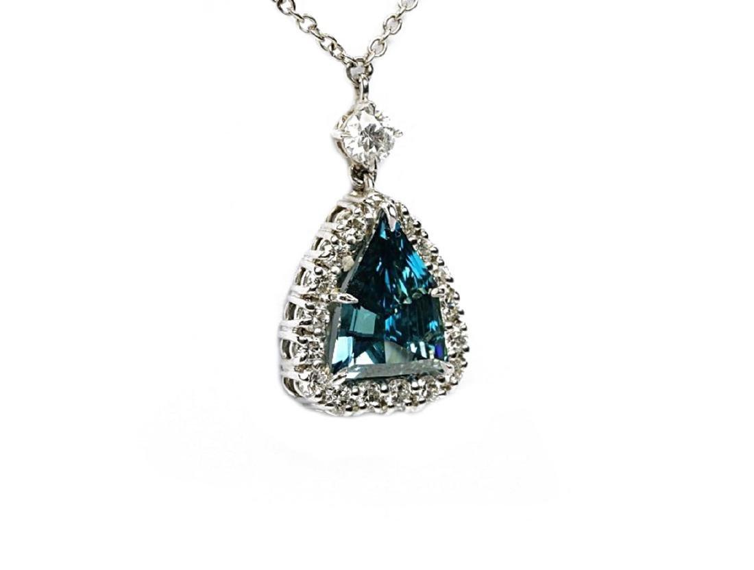 4.13ct GIA VS1 Deep Green Blue Diamond Necklace - 5