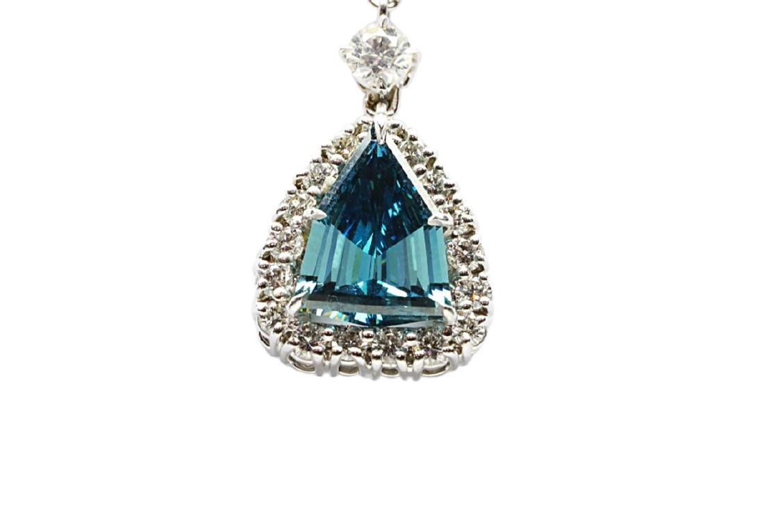 4.13ct GIA VS1 Deep Green Blue Diamond Necklace - 6