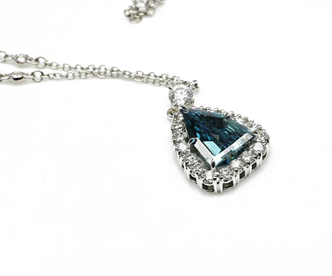 4.13ct GIA VS1 Deep Green Blue Diamond Necklace - 7