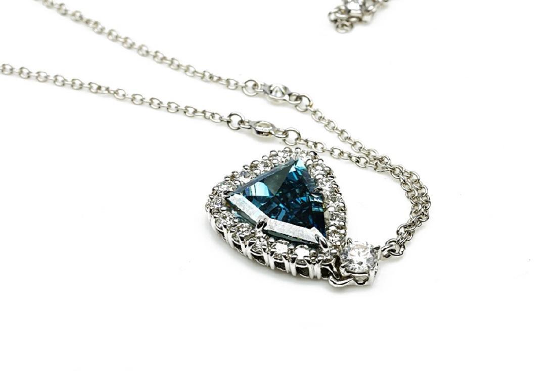 4.13ct GIA VS1 Deep Green Blue Diamond Necklace - 8