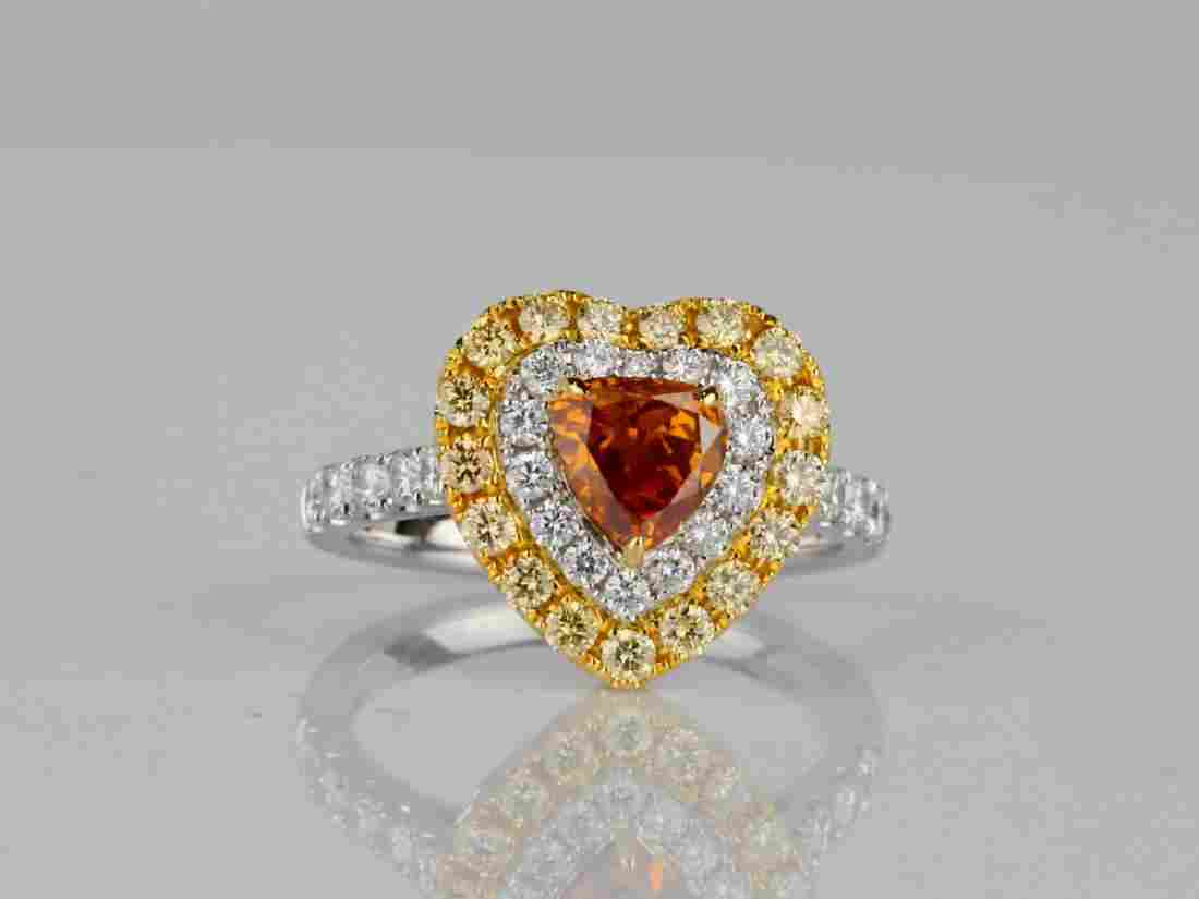 1.01ct GIA Fancy Deep Yellowish Orange Diamond Ring