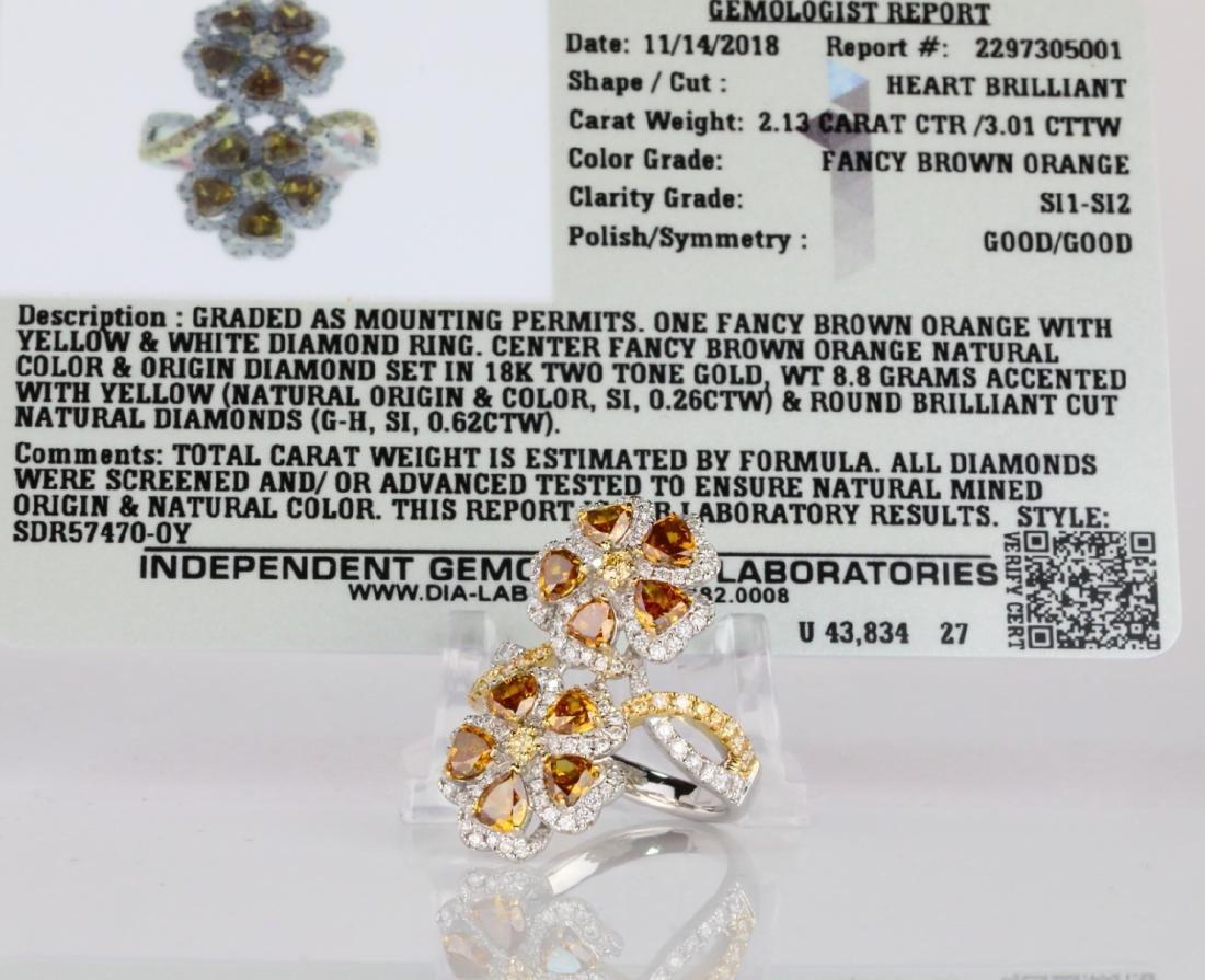 3.01ctw Multi-Colored Diamond 18K Ring W/IGL Report