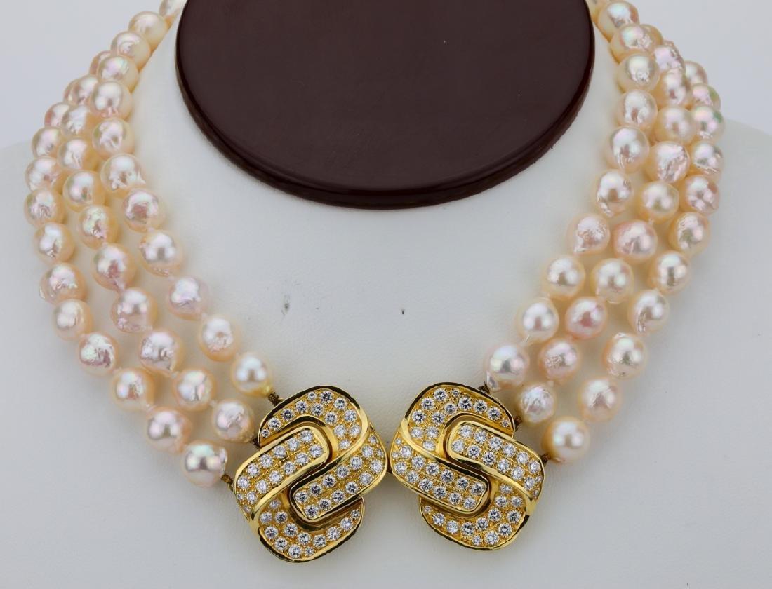5.00ctw Diamond 18K Pearl Triple-Strand Necklace