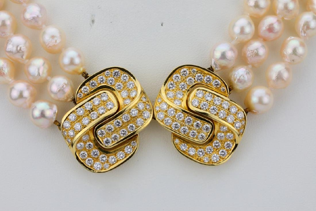 5.00ctw Diamond 18K Pearl Triple-Strand Necklace - 2
