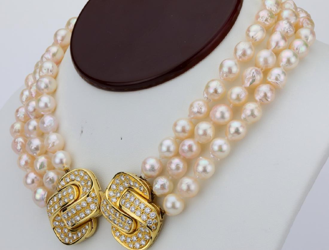 5.00ctw Diamond 18K Pearl Triple-Strand Necklace - 3