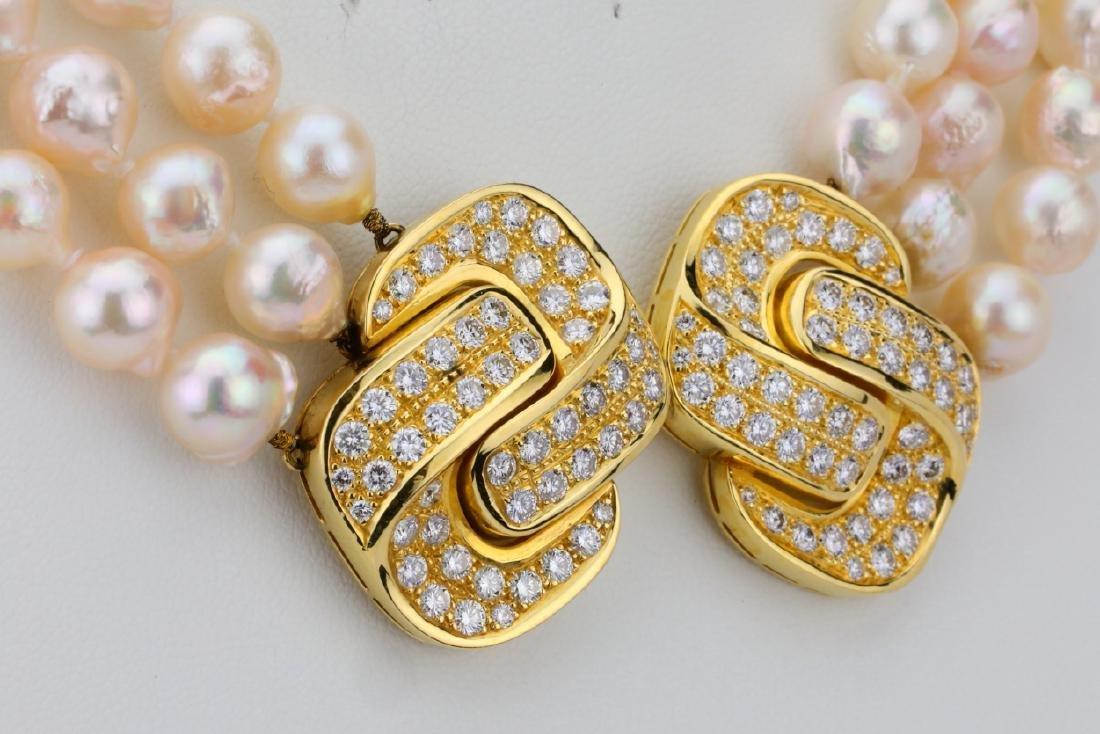 5.00ctw Diamond 18K Pearl Triple-Strand Necklace - 5