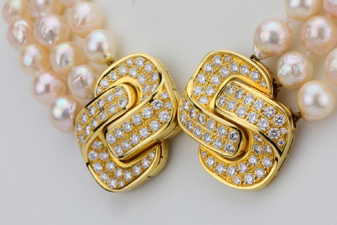 5.00ctw Diamond 18K Pearl Triple-Strand Necklace - 6