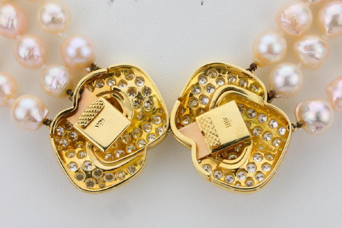 5.00ctw Diamond 18K Pearl Triple-Strand Necklace - 7
