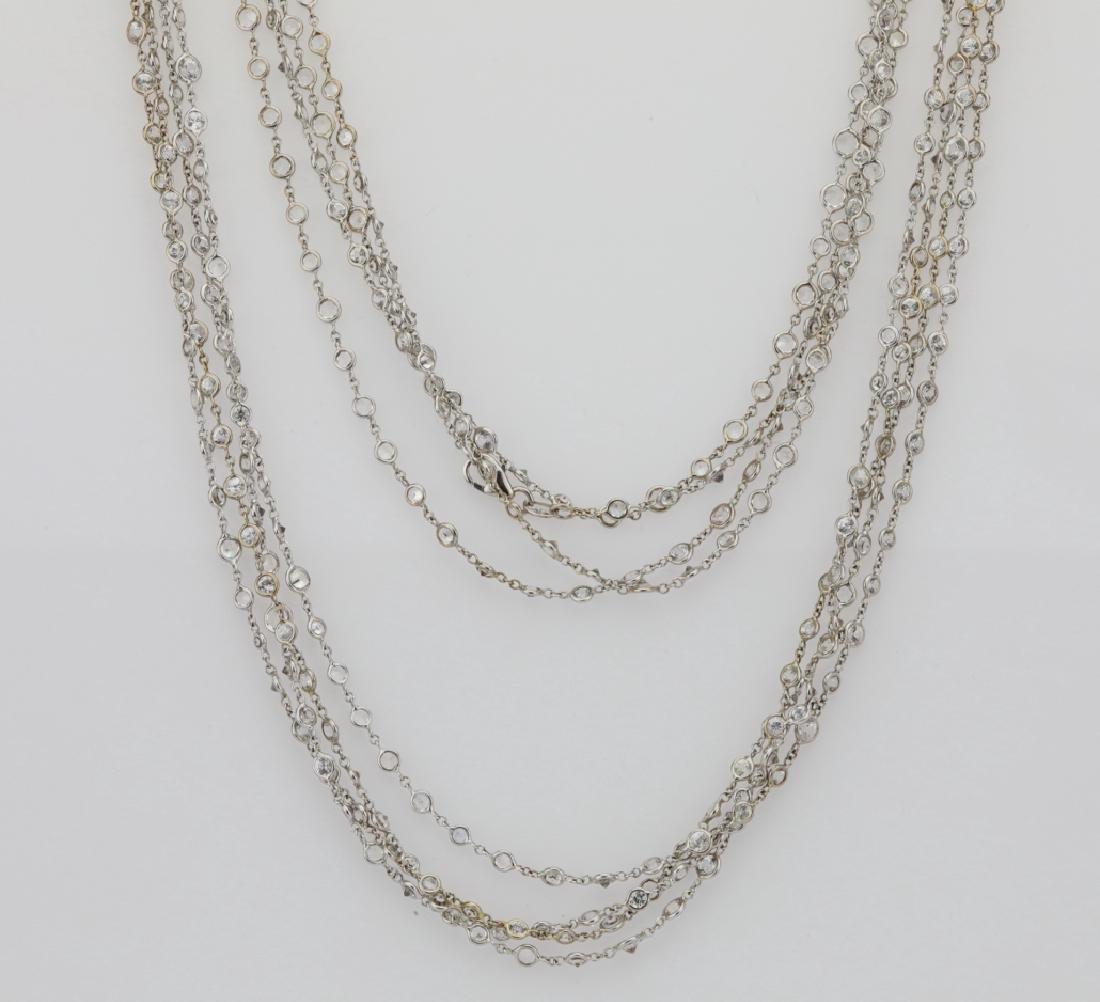 """39.45ctw White Sapphire 18K 111"""" Sautoir Necklace"""