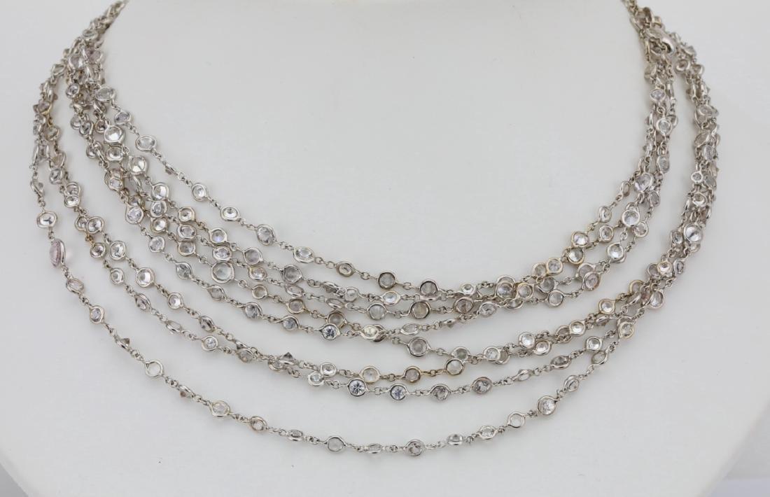 """39.45ctw White Sapphire 18K 111"""" Sautoir Necklace - 2"""