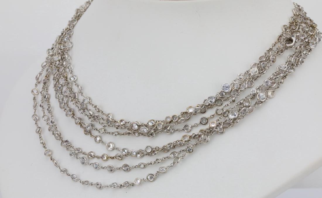 """39.45ctw White Sapphire 18K 111"""" Sautoir Necklace - 3"""