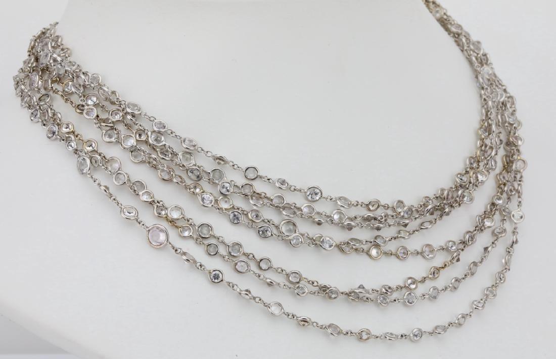 """39.45ctw White Sapphire 18K 111"""" Sautoir Necklace - 4"""