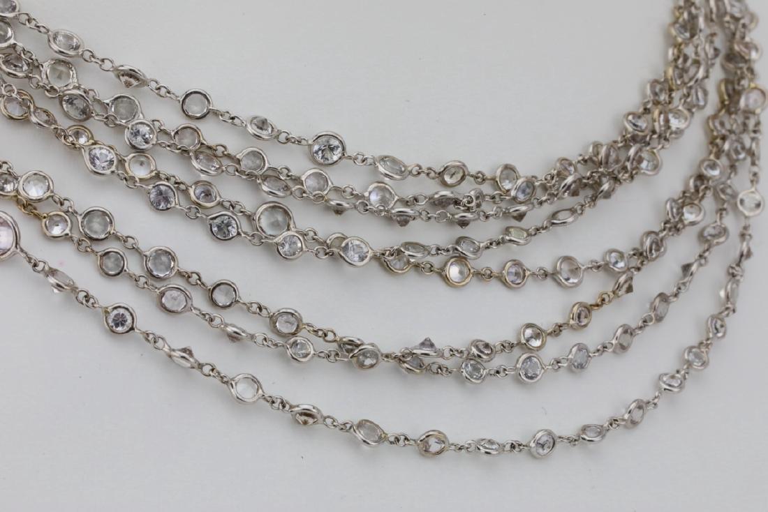 """39.45ctw White Sapphire 18K 111"""" Sautoir Necklace - 5"""